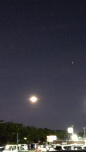 夜の口の秋空・月と木星